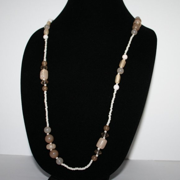 """white and cream beaded necklace 32"""""""